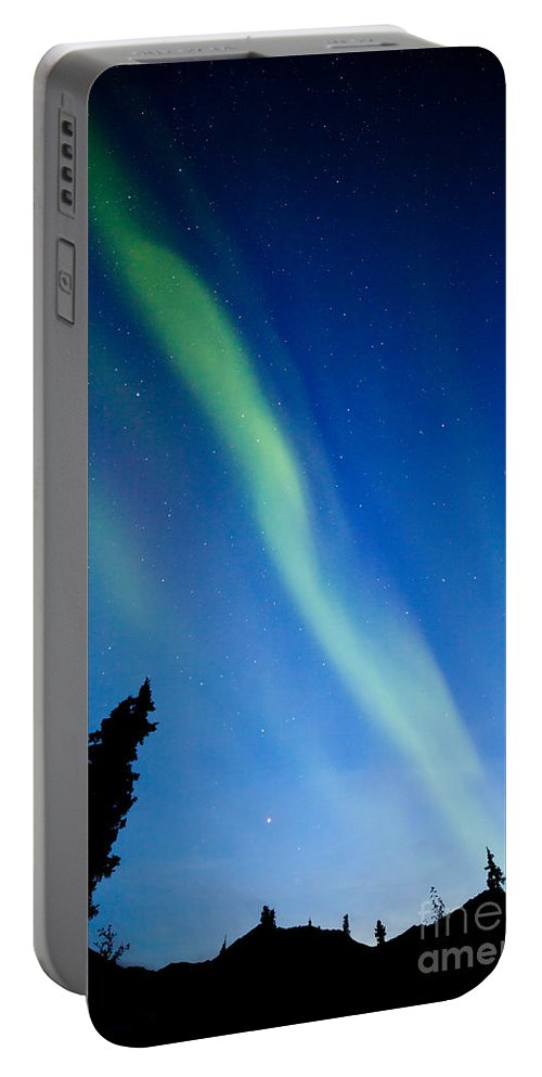 Alaska Portable Battery Charger featuring the photograph Yukon Taiga Spruce Northern Lights Aurora Borealis by Stephan Pietzko