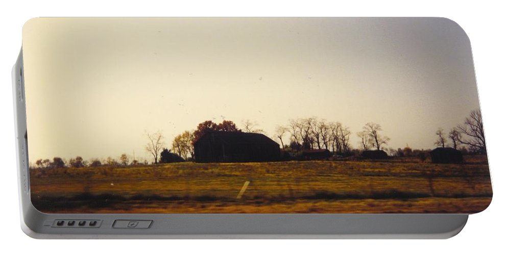 Michigan Barn In Distance Portable Battery Charger featuring the photograph Landscape by Robert Floyd
