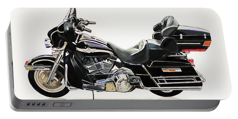 Harley Davidson Motorcycle Portable Battery Charger featuring the painting 2003 Harley Davidson by Bill Dunkley