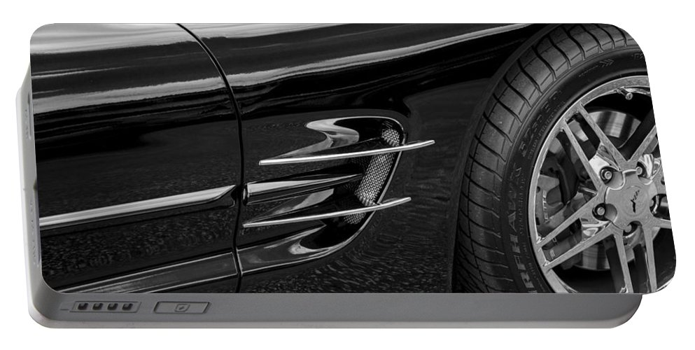 2002 Corvette Portable Battery Charger featuring the photograph 2002 Corvette Ls1 5 7ltr B W by Rich Franco