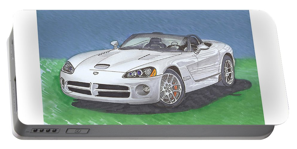 2005 Dodge Viper. Images Of 2005 Dodge Vipers. Portable Battery Charger featuring the painting 2005 Dodge V-10 Viper by Jack Pumphrey