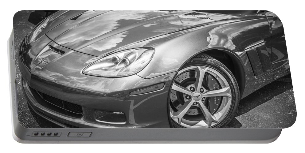 2010 Corvette Portable Battery Charger featuring the photograph 2010 Chevy Corvette Grand Sport Bw by Rich Franco