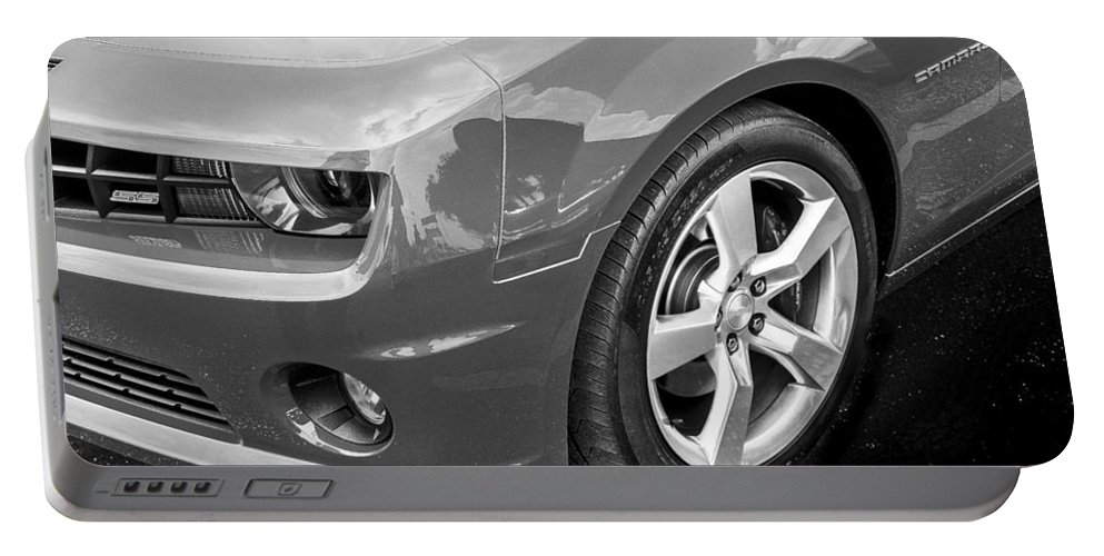 2012 Chevy Portable Battery Charger featuring the photograph 2012 Chevy Camaro Ss Bw by Rich Franco