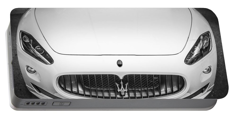 2012 Maserati Portable Battery Charger featuring the photograph 2012 Maserarti Gran Turismo S Bw by Rich Franco