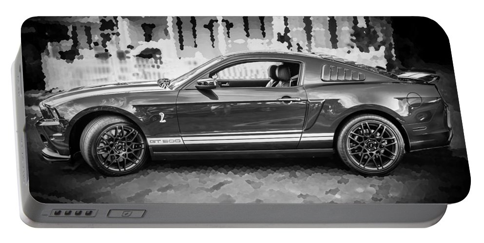 2013 Ford Mustang Portable Battery Charger featuring the photograph 2013 Ford Mustang Shelby Gt 500 Bw by Rich Franco