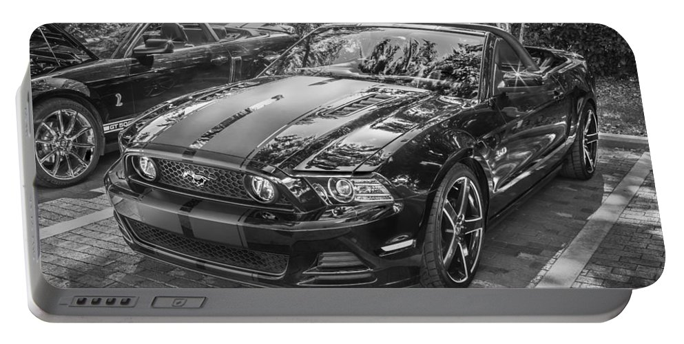 2013 Ford Mustang Portable Battery Charger featuring the photograph 2013 Ford Shelby Mustang Gt 5.0 Convertible Bw by Rich Franco