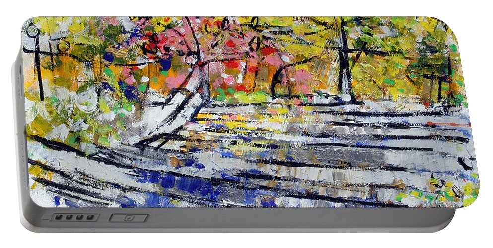 Landscape Portable Battery Charger featuring the painting 2014 19 Silver And Blue Stairs To Pink And Yellow Woods Srpsko Sarajevo by Alyse Radenovic
