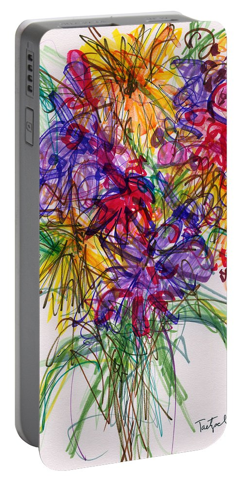 Floral Portable Battery Charger featuring the drawing 2014 Abstract Drawing #14 by Lynne Taetzsch
