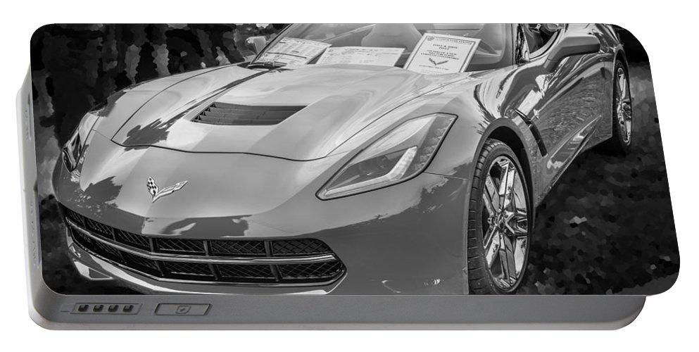 2014 Chevrolet Corvette Portable Battery Charger featuring the photograph 2014 Chevrolet Corvette C7 Bw by Rich Franco