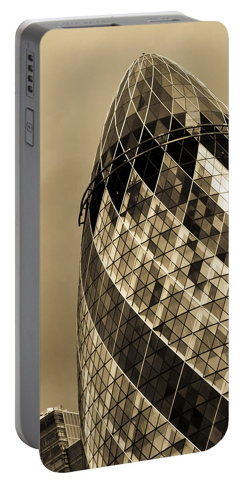 Gherkin Portable Battery Charger featuring the photograph The Gherkin London by David Pyatt