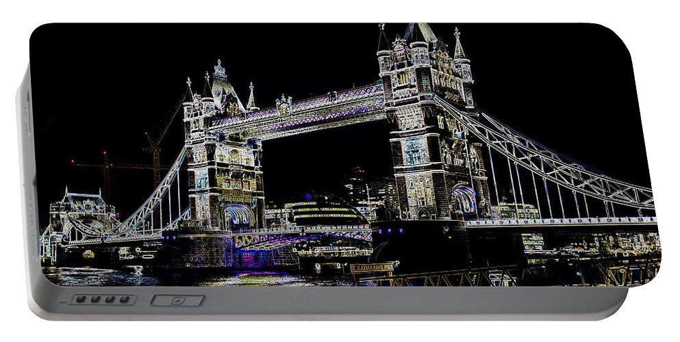 Bridge Portable Battery Charger featuring the digital art Tower Bridge Art by David Pyatt