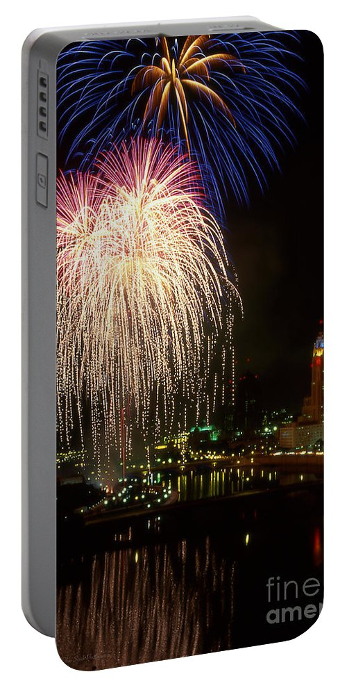 Red White And Boom Portable Battery Charger featuring the photograph 21l106 Red White And Boom Fireworks Photo by Ohio Stock Photography