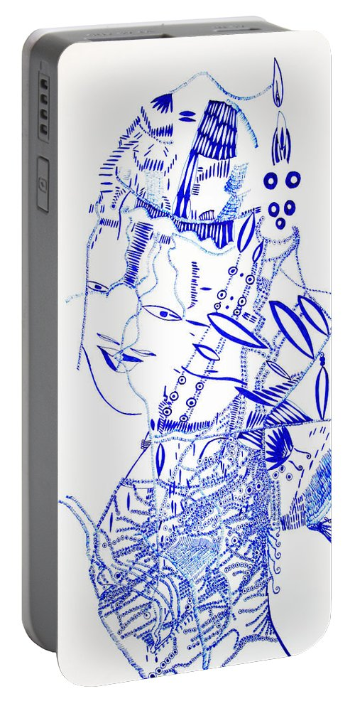 Jesus Portable Battery Charger featuring the drawing Dinka Lady - South Sudan by Gloria Ssali