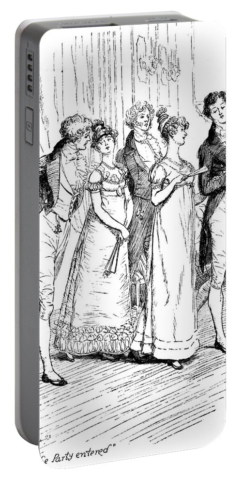 When The Party Entered; Illustration; Pride And Prejudice; Jane Austen; Edition; Illustrated; Austen's; Arrival; Mr; Bingley; Mr; Darcy; Caroline Bingley; Mr;hurst; Mrs; Hurst; Meryton; Dance; Assembly Rooms; Regency; Georgian; Ball; Costume; Empire-line Dress; Dresses; Snobs; Upper Class; Snobbish; Snobby; Snob; Sisters; Sister; Brother; Character Family; Ladies; Gentlemen Portable Battery Charger featuring the drawing Scene From Pride And Prejudice By Jane Austen by Hugh Thomson