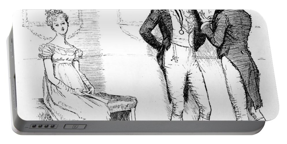 She Is Tolerable; Illustration; Pride And Prejudice; Jane Austen; Illustrated; Edition; Mr; Darcy; Slighting; Slighted; Elizabeth Bennet; Meryton Assembly; Dance; Offended; Lovers; Couple; First Portable Battery Charger featuring the drawing Scene From Pride And Prejudice By Jane Austen by Hugh Thomson