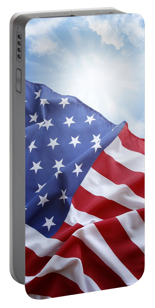 American Portable Battery Charger featuring the photograph American Flag by Les Cunliffe