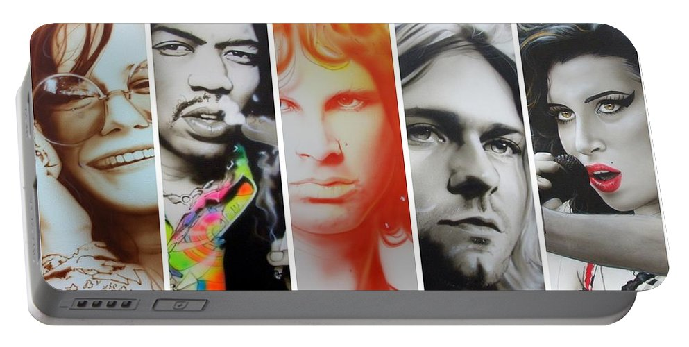 Jimi Hendrix Portable Battery Charger featuring the painting 27 Eternal by Christian Chapman Art