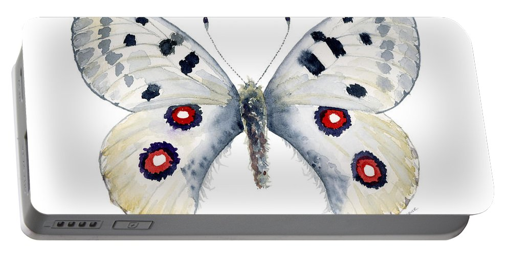 Apollo Portable Battery Charger featuring the painting 28 Apollo Butterfly by Amy Kirkpatrick