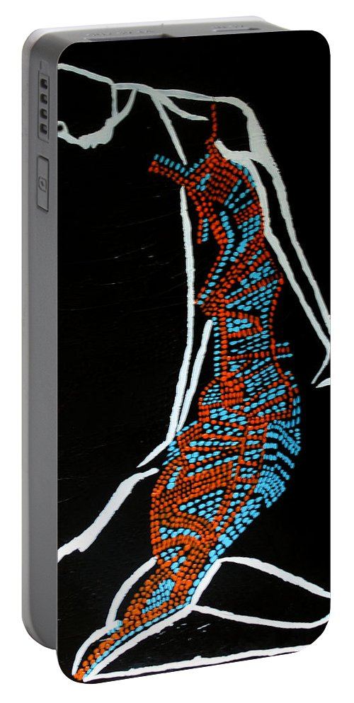 Jesus Portable Battery Charger featuring the painting Dinka Lady - South Sudan by Gloria Ssali