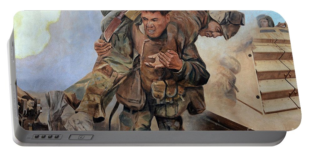 Mural Portable Battery Charger featuring the photograph 29 Palms Mural 3 by Bob Christopher