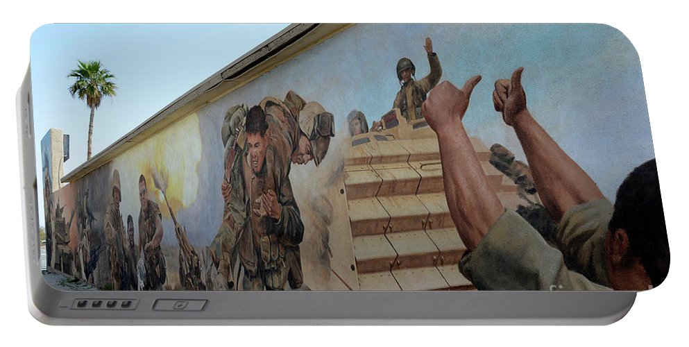 Mural Portable Battery Charger featuring the photograph 29 Palms Mural 4 by Bob Christopher