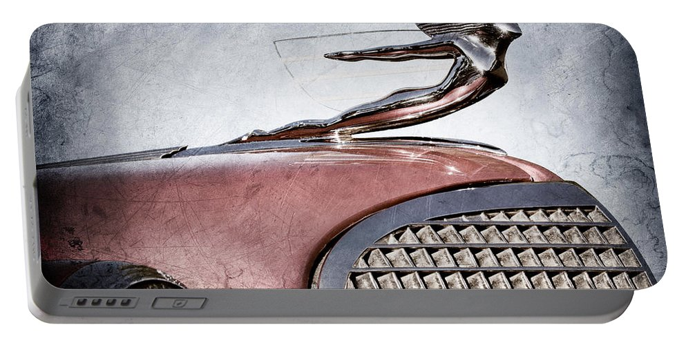 1937 Cadillac V8 Hood Ornament Portable Battery Charger featuring the photograph 1937 Cadillac V8 Hood Ornament by Jill Reger