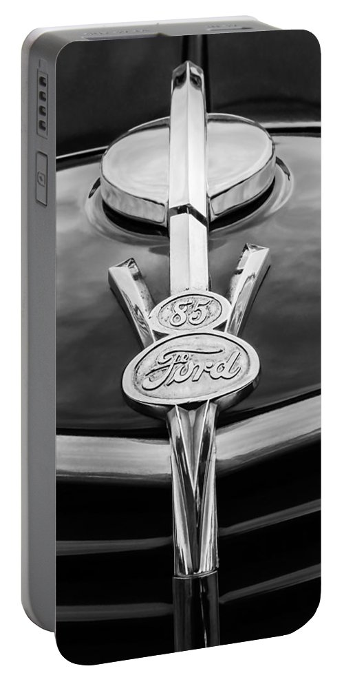 1937 Ford Pickup Truck V8 Emblem Portable Battery Charger featuring the photograph 1937 Ford Pickup Truck V8 Emblem by Jill Reger