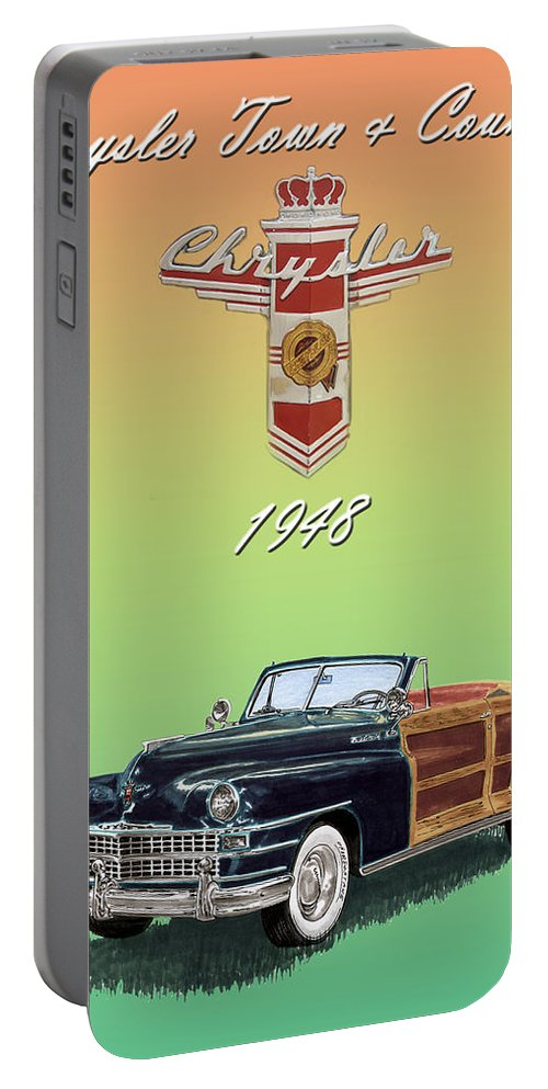 Framed Posters Of Chrysler Town & Country Convertibles.images Of 1941 Plymouth Woodies. Framed Photography Art Of Woody�s. Prints Of Cool Wood-paneled Station Wagons. Wrecked 1946 Ford Woody�s. Prints Of 1941 Plymouth Woodies. Prints Of 1941 Chrysler Town & Country Convertibles. Prints Of 1948 Ford Sportsmen Convertibles. Prints Of 1950 Ford Woody�s. Portable Battery Charger featuring the painting 1948 Chrysler Town And Country by Jack Pumphrey