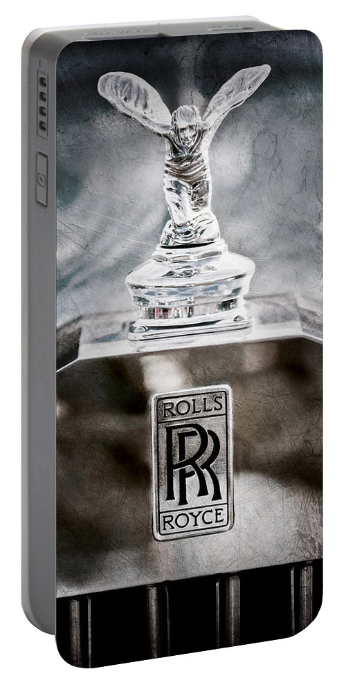 1952 Rolls-royce Hood Ornament Portable Battery Charger featuring the photograph 1952 Rolls-royce Hood Ornament by Jill Reger