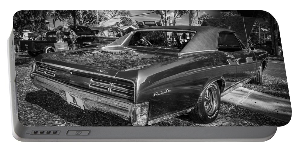 1967 Pontiac Gto Portable Battery Charger featuring the photograph 1967 Pontiac Gto Bw by Rich Franco