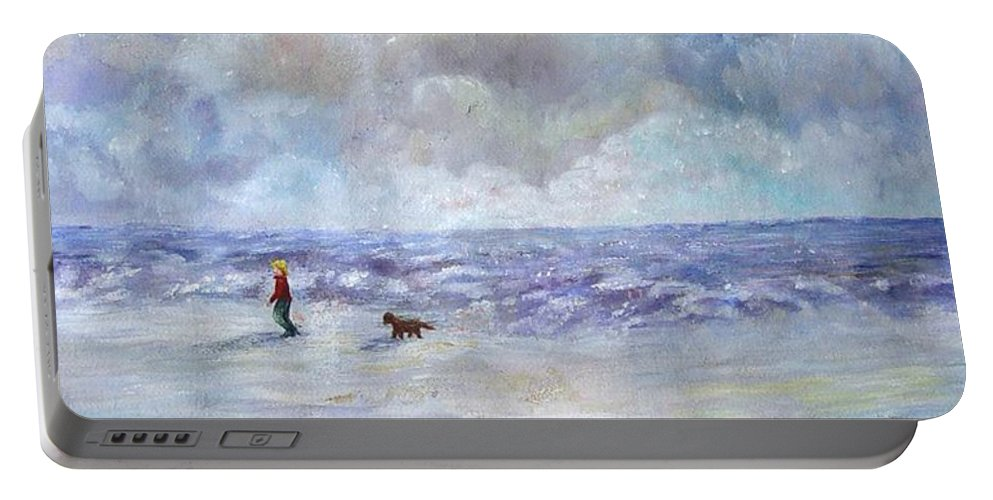Ocean Portable Battery Charger featuring the painting 34th St. Beach by Loretta Luglio