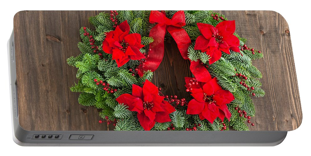 Advent Wreath Portable Battery Charger featuring the photograph Advent Wreath With Winter Rose by U Schade