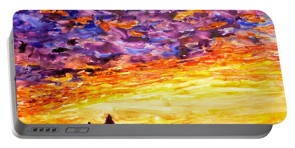 Yupo Portable Battery Charger featuring the painting Angkor Sunrise by Ryan Fox