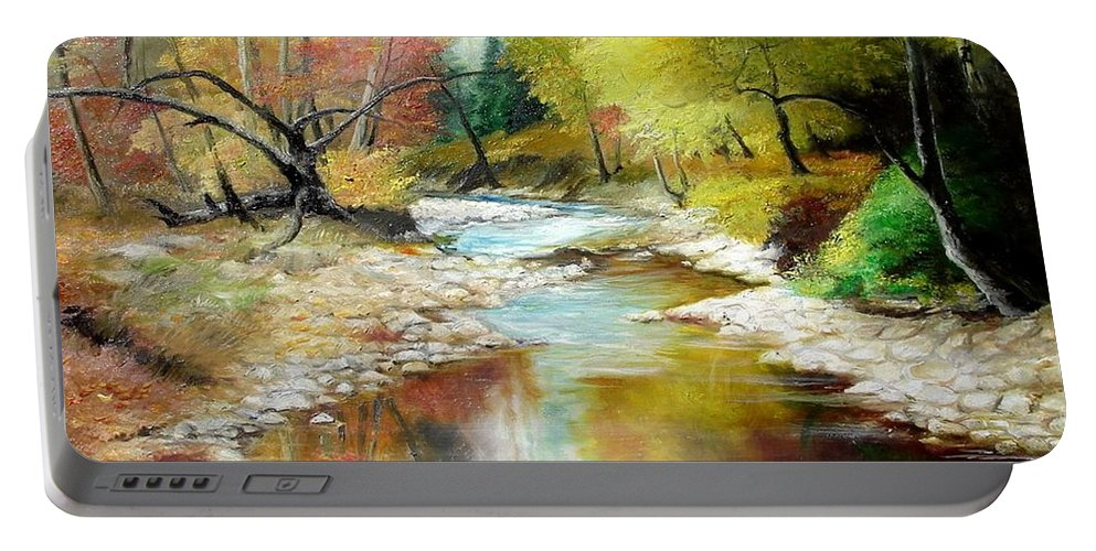 Tree Portable Battery Charger featuring the painting Autumn by Sorin Apostolescu