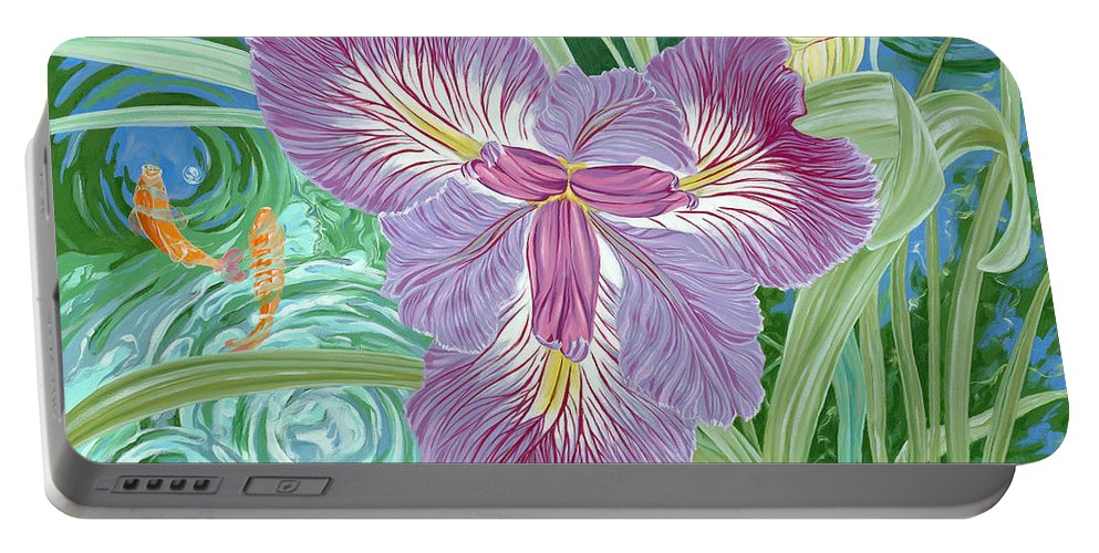 Purple Iris Flower And Buds Portable Battery Charger featuring the painting Beverly by John Wilson