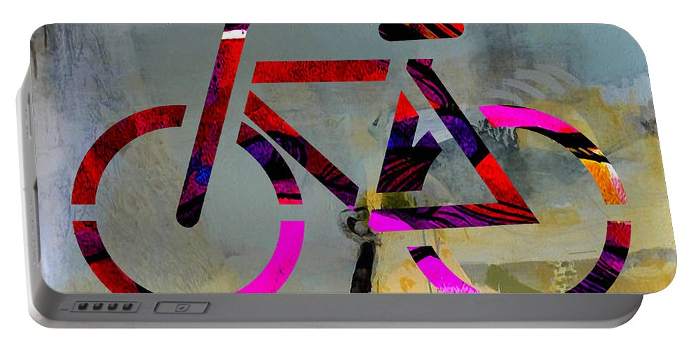 Bike Portable Battery Charger featuring the mixed media Bike by Marvin Blaine