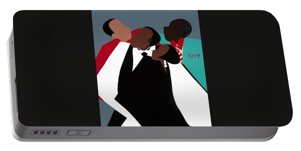 Kappas Portable Battery Charger featuring the painting Brotherhood by Synthia SAINT JAMES