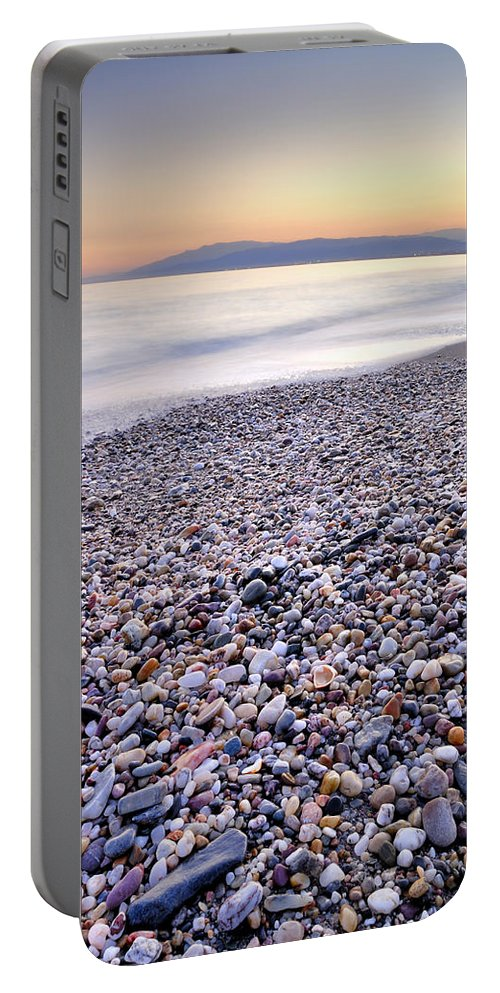 Seascape Portable Battery Charger featuring the photograph Calm Sunset by Guido Montanes Castillo