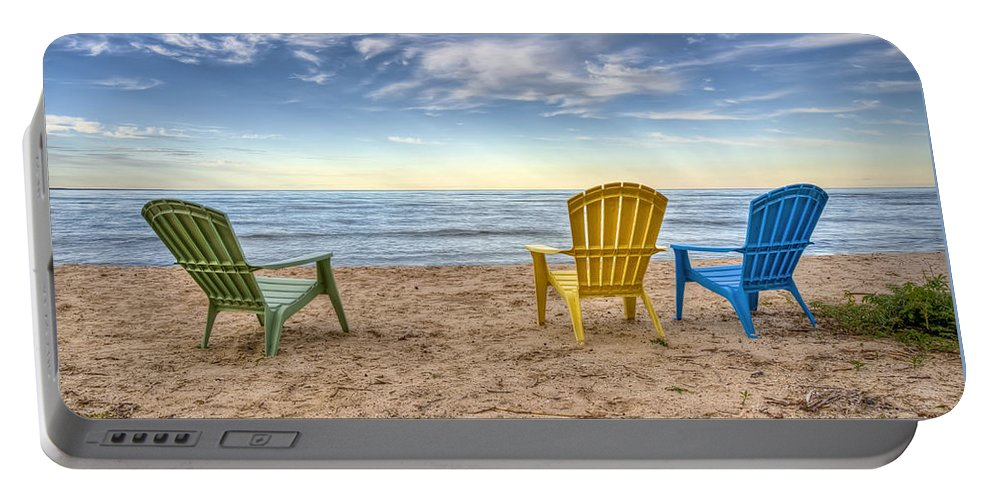 Chairs Portable Battery Charger featuring the photograph 3 Chairs by Scott Norris