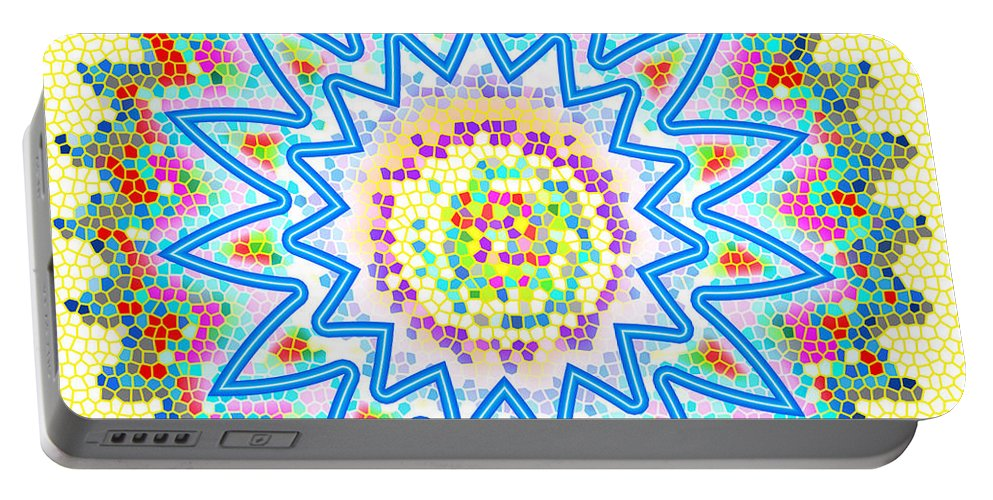 Chakra Portable Battery Charger featuring the painting Colorful Signature Art Chakra Round Mandala By Navinjoshi At Fineartamerica.com Rare Fineart Images by Navin Joshi