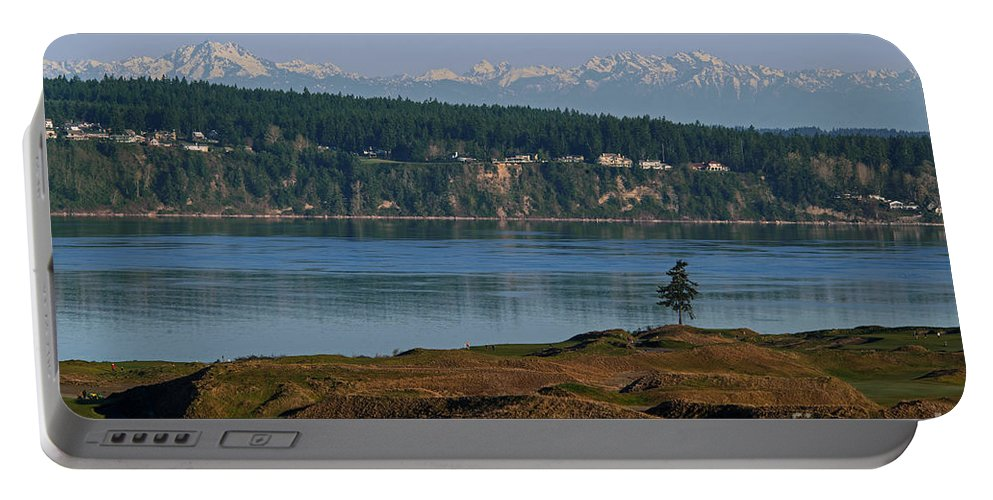 Chambers Bay Golf Course Portable Battery Charger featuring the photograph Chambers Bay Golf Course - University Place - Washington by Yefim Bam