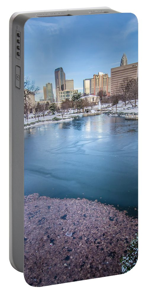 Charlotte Portable Battery Charger featuring the photograph Charlotte North Carolina Marshall Park In Winter by Alex Grichenko