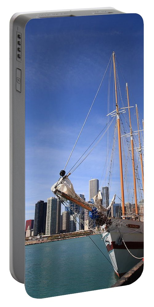 America Portable Battery Charger featuring the photograph Chicago Skyline And Tall Ship by Frank Romeo