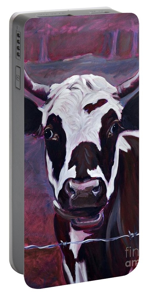 Cow Portable Battery Charger featuring the painting Chocolate by Sylvina Rollins