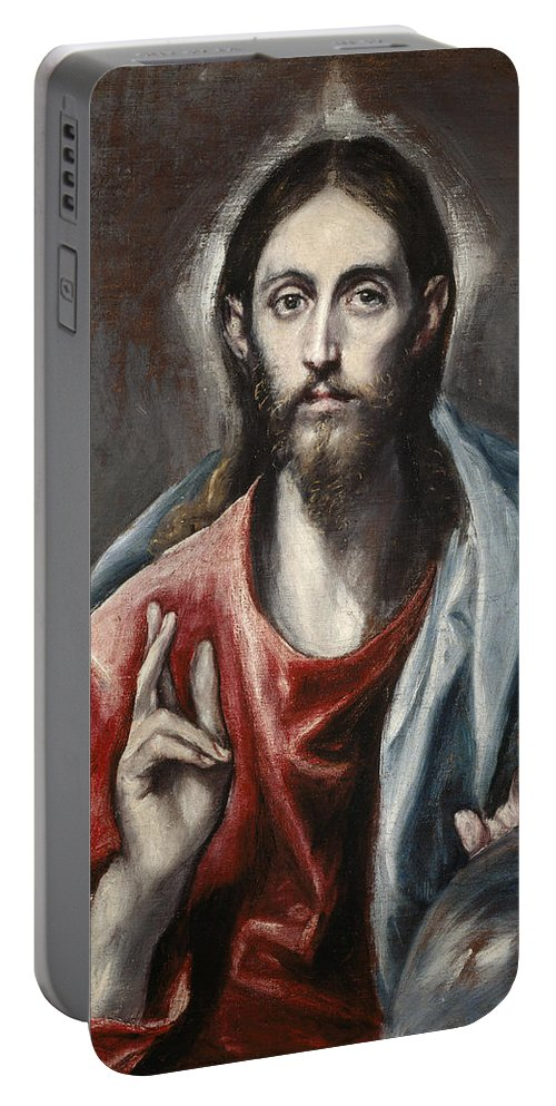 El Greco Portable Battery Charger featuring the painting Christ Blessing by El Greco