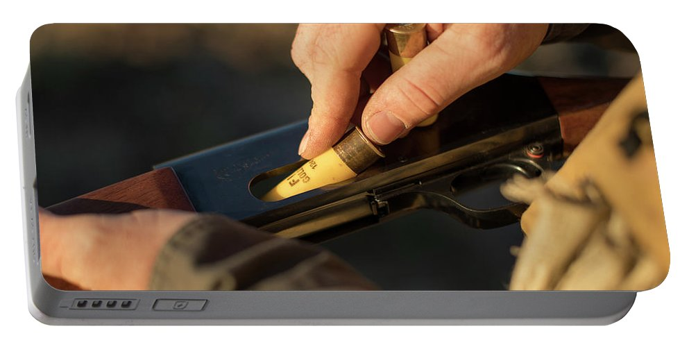 Sagebrush Portable Battery Charger featuring the photograph Chukar Hunting In Nevada by Michael Okimoto