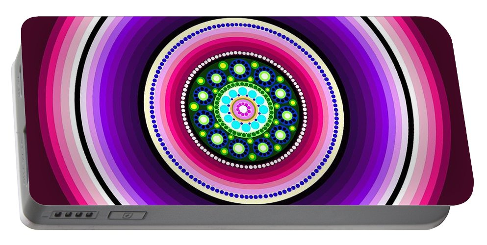 Art Portable Battery Charger featuring the painting Circle Motif 129 by John F Metcalf