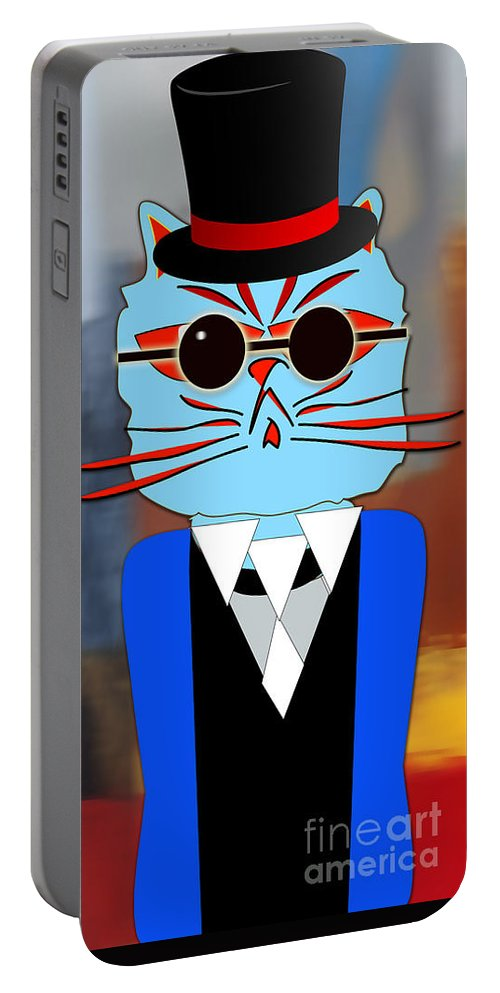 Kitten Paintings Mixed Media Mixed Media Portable Battery Charger featuring the mixed media Cool Cat by Marvin Blaine
