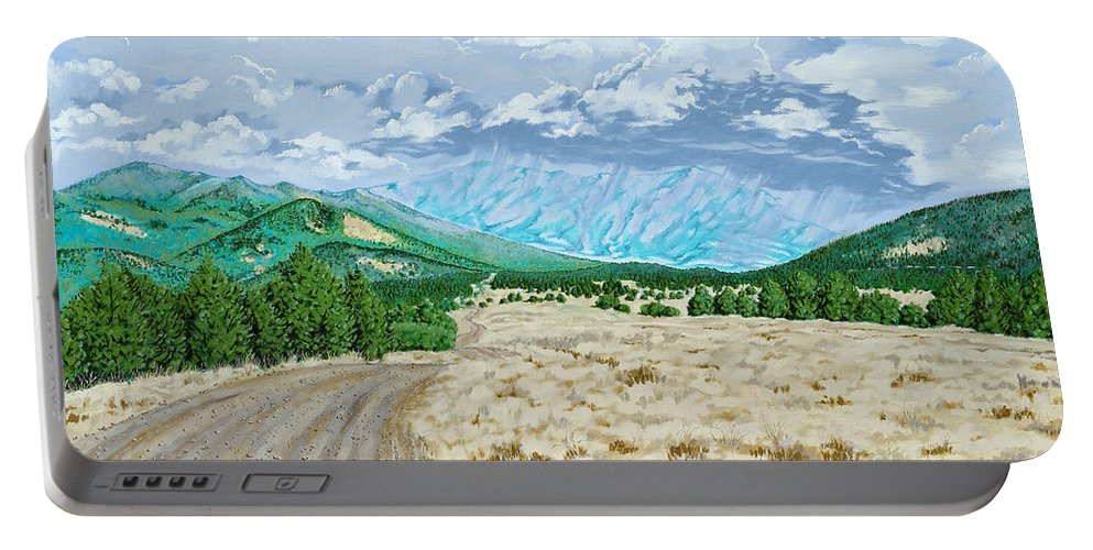 Dirt Road Portable Battery Charger featuring the painting Country Road by John Wilson