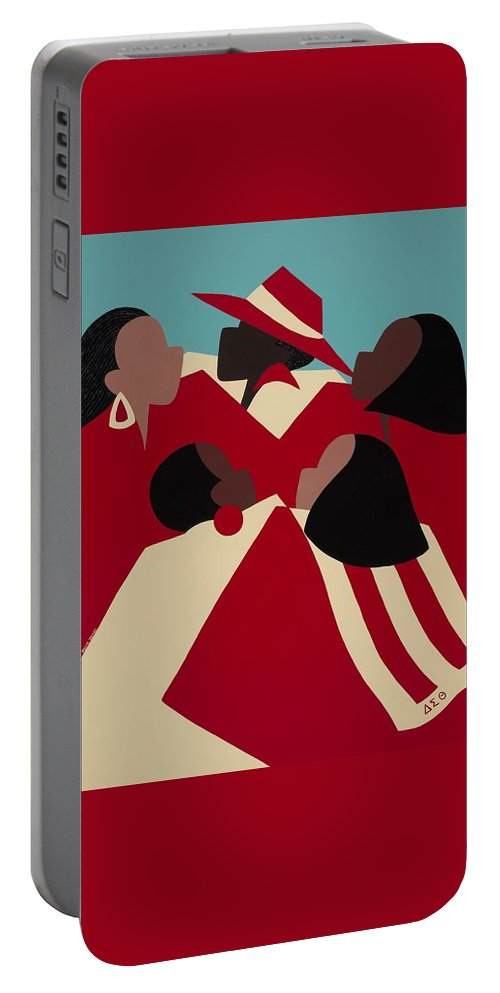 African American Portable Battery Charger featuring the painting Crimson And Cream by Synthia SAINT JAMES